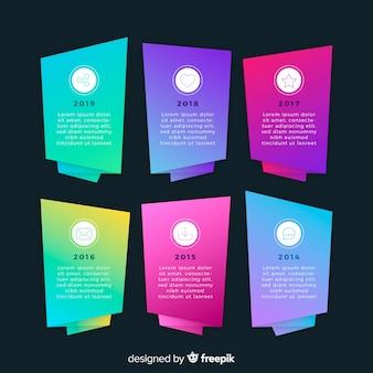 Kolorowy plansza na osi czasu płaski kształt