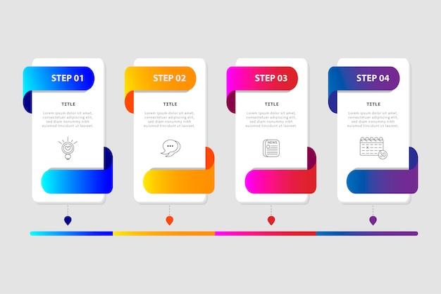 Kolorowy plansza z czterech kroków w stylu płaski