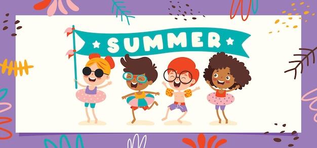 Kolorowy płaski baner letni