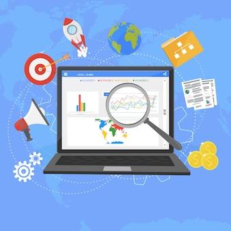 Kolorowy płaski ilustracja analityki internetowej projektu