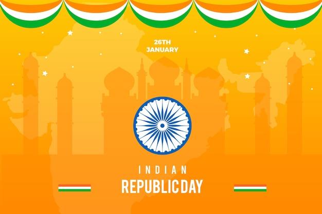 Kolorowy, płaski kształt na dzień republiki indii