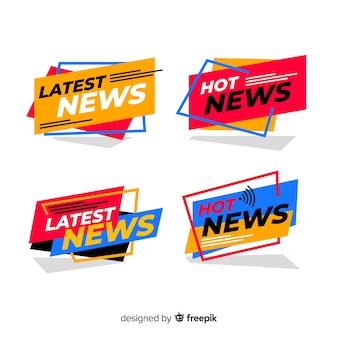 Kolorowy płaski najnowszy zbiór banerów informacyjnych