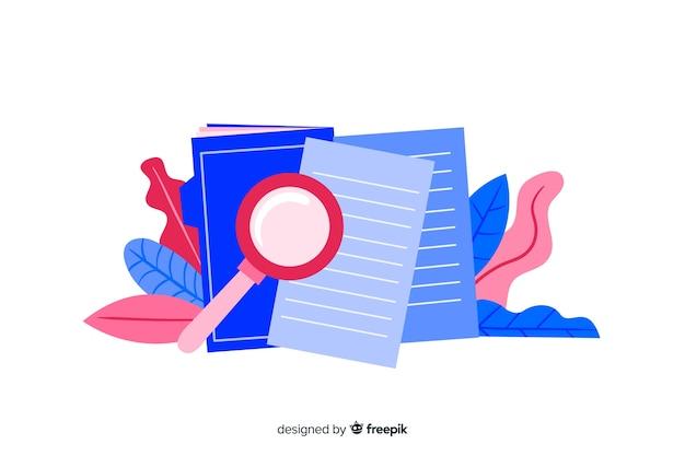 Kolorowy, płaski projekt wyszukiwania pliku koncepcja strony docelowej