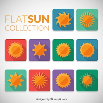 Kolorowy płaski słońca kolekcji