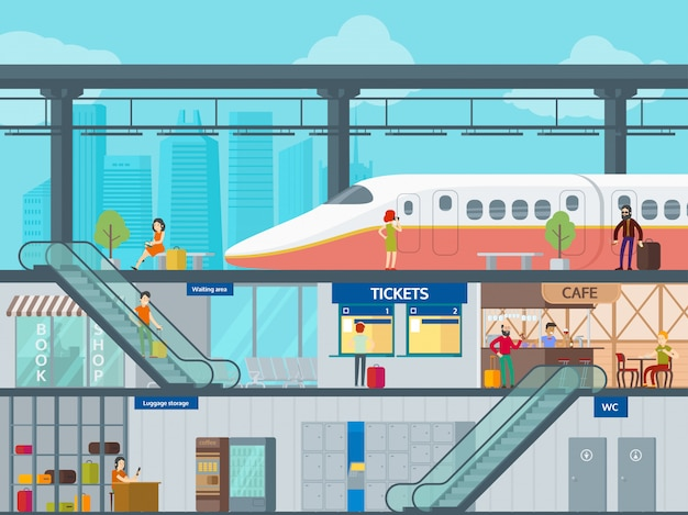 Kolorowy płaski szablon dworca kolejowego
