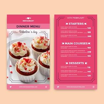 Kolorowy płaski szablon menu walentynki