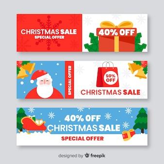 Kolorowy płaski transparent świąteczna sprzedaż