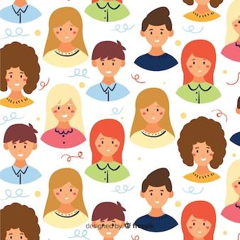 Kolorowy płaski wzór młodzieży