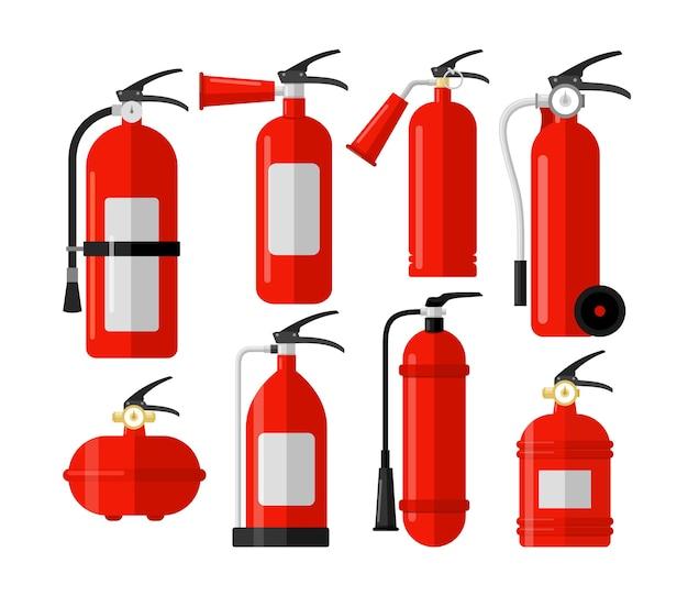 Kolorowy płaski zestaw gaśnic. pierwszy alarm, nagły wypadek. sprzęt ochrony przeciwpożarowej