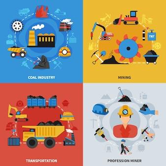 Kolorowy płaski zestaw ilustracji 2x2 z górnikami przemysłu wydobywczego węgla i elementami transportu
