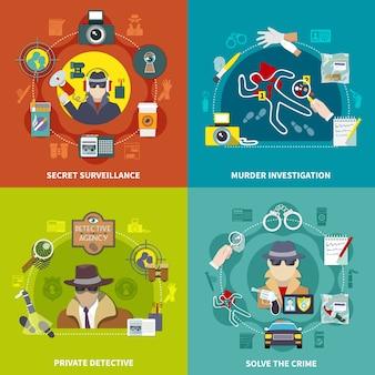 Kolorowy, płaski zestaw koncepcji detektywistycznej 2x2 ilustracji z rozwiązywaniem przestępstw prywatnego tajnego nadzoru detektywistycznego i śledztwa w sprawie morderstwa
