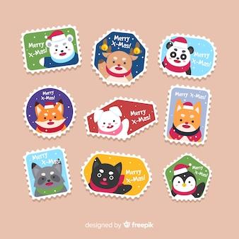 Kolorowy płaski znaczek świątecznych kolekcji