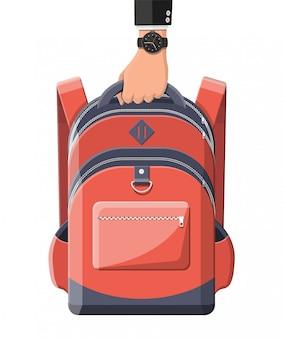 Kolorowy plecak szkolny w dłoni. powrót do szkoły. plecak do szkoły, nauki, podróży, wędrówek i pracy. haversack, plecak. tornister, bagaż i bagaż. ilustracja w stylu płaski