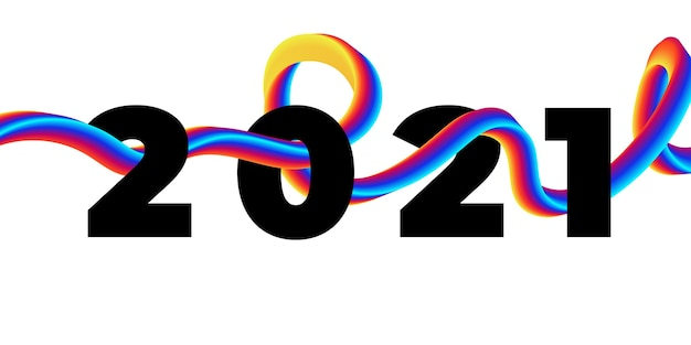Kolorowy płyn do pociągnięć pędzla 2021 szczęśliwego nowego roku