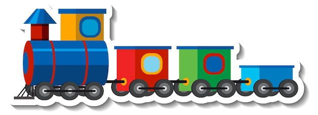Kolorowy pociąg z zabawkami na białym tle