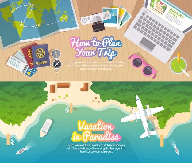 Kolorowy podróż wektor płaski baner ustawiony dla twojej firmy, stron internetowych itp.
