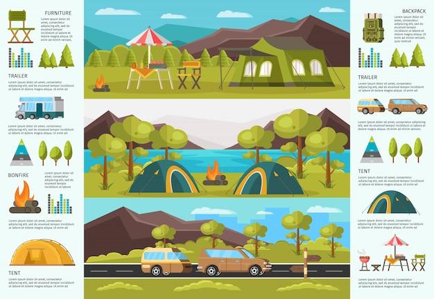 Kolorowy podróżujący camping plansza szablon