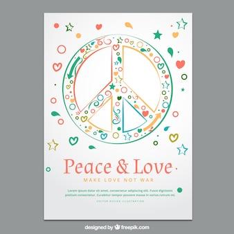 Kolorowy pokój i miłość plakat