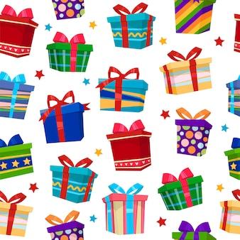 Kolorowy prezent pudełek bezszwowy wzór