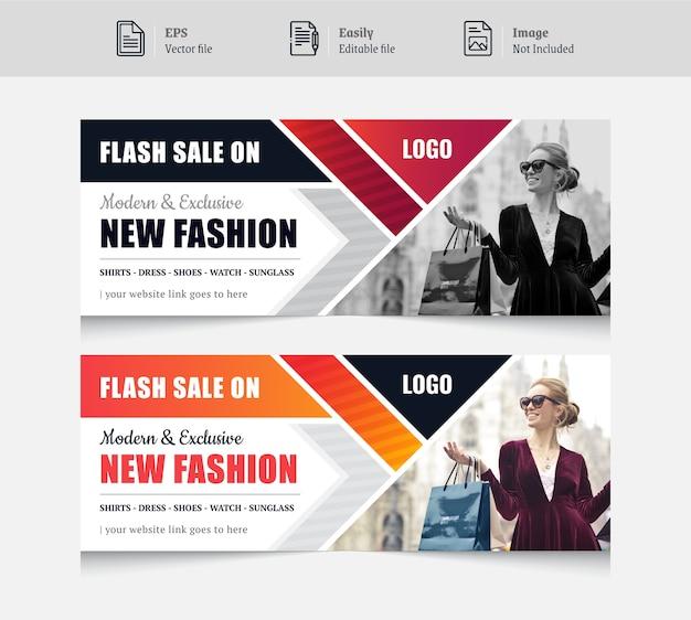 Kolorowy projekt banera w mediach społecznościowych dla mody