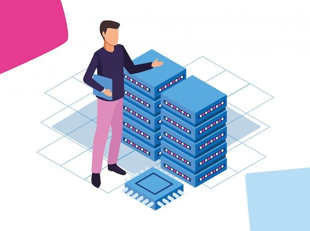 Kolorowy projekt big data z człowiekiem z serwerami centrum danych