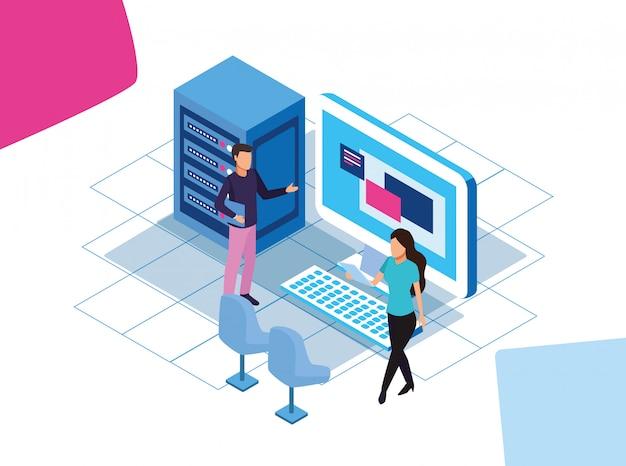 Kolorowy projekt big data z serwerami danych oraz mężczyzna i kobieta z dużym komputerem