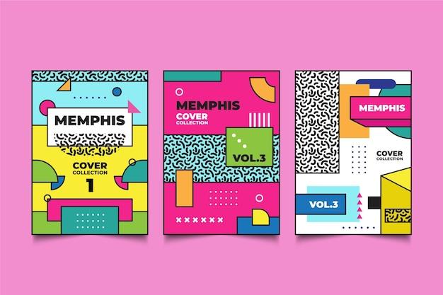 Kolorowy projekt kolekcji okładek memphis
