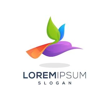 Kolorowy projekt logo latający ptak
