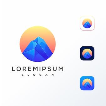 Kolorowy projekt logo mountain gotowy do użycia
