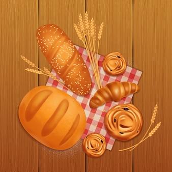 Kolorowy realistyczny skład piekarni chleb z rogalika i bułki na drewnianym stole