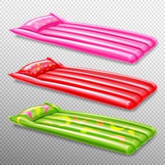 Kolorowy realistyczny zestaw nadmuchiwanych materacy do pływania na białym tle ilustracji ścieżki przycinającej