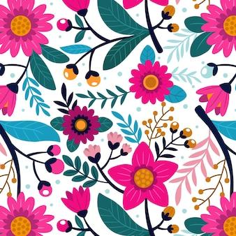 Kolorowy, ręcznie malowany tropikalny kwiatowy wzór