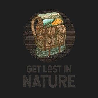 Kolorowy, ręcznie rysowane plecak z ilustracją krajobrazu