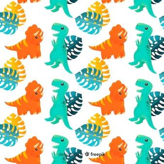 Kolorowy ręcznie rysowane wzór dinozaura