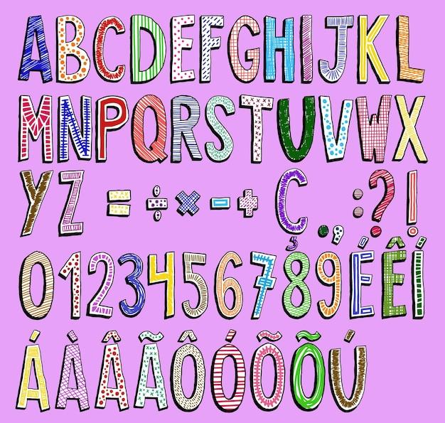 Kolorowy, ręcznie rysowany alfabet