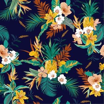 Kolorowy retro ciemny tropikalny las egzotyczny bezszwowy wektor
