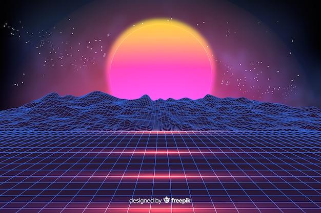 Kolorowy retro futurystyczny krajobrazowy tło