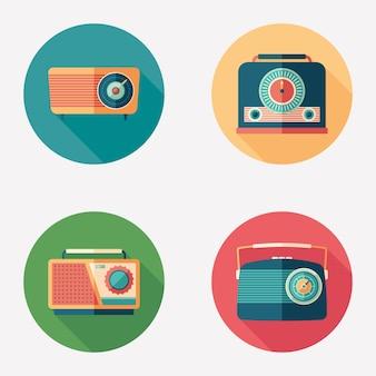 Kolorowy retro radia płaski okrągły zestaw ikon.