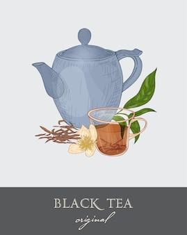 Kolorowy rysunek czajnika, przezroczystej filiżanki i oryginalnych liści czarnej herbaty i kwiatów na szaro
