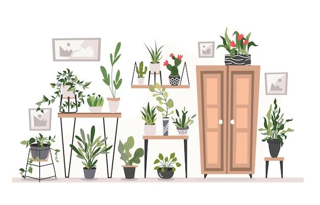 Kolorowy rysunek przytulnego salonu pełnego mebli oraz egzotycznych tropikalnych roślin doniczkowych i kwiatów.