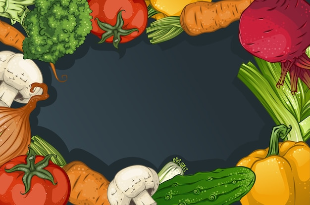 Kolorowy rysunek szablonu warzyw