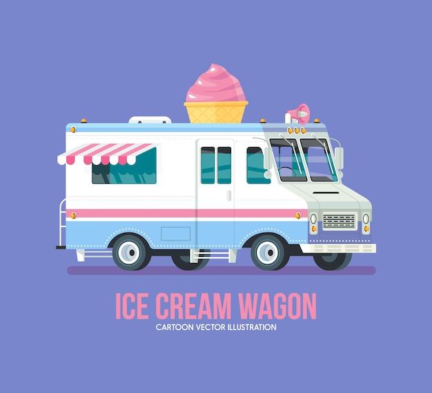 Kolorowy samochód z lodami. nowoczesna ilustracja.