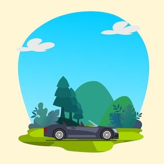 Kolorowy samochód z wektorem premium w tle przyrody
