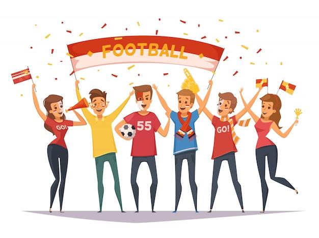 Kolorowy skład grupy fanów rooter z flagami i transparentami dziewcząt i chłopców