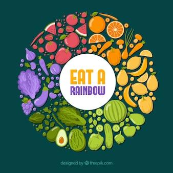 Kolorowy skład z zdrowym jedzeniem