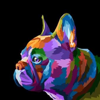 Kolorowy słodki mops na geometrycznej abstrakcyjnej tęczy w stylu pop-art