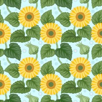 Kolorowy słoneczników bezszwowy wzór na błękicie.