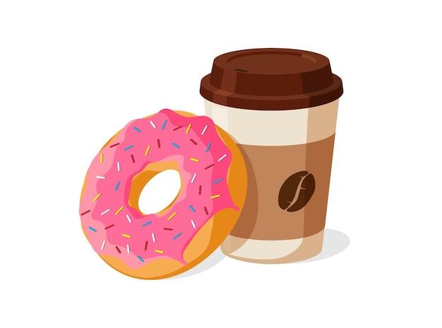 Kolorowy smaczny różowy pączek i jednorazowy zestaw papierowych kubków do kawy. przeszklony pączek z gorącym napojem wektor na białym tle ilustracja eps