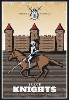 Kolorowy średniowieczny plakat w stylu vintage