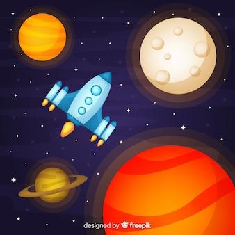 Kolorowy statek kosmiczny tło z płaskim deisgn